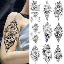 Noir henné Rose fleur tatouage temporaire pour les femmes dentelle faux bijoux tatouage autocollant indien mariage Body Art pendentif Tatoo maquillage