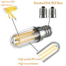 1W 2W 4W Lamp COB Dimmable Bulbs Cold / Warm White 110V 220V Mini E14 E12 LED Fridge Freezer Filament Light