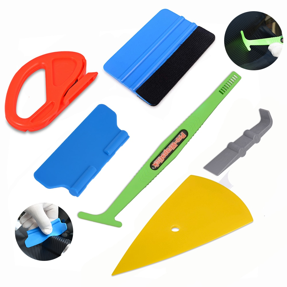 Accesorios de coche FOSHIO, Kit de herramientas de rascador de fibra de carbono, envoltura de vinilo, palo magnético para coche, escobilla de goma, pegatina, cortador, herramientas de envoltura