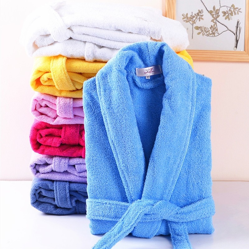 Men Women 100% Cotton Terry Bathrobe Lovers Solid Towel Sleepwear Long Bath Robe Kimono Femme Dressi