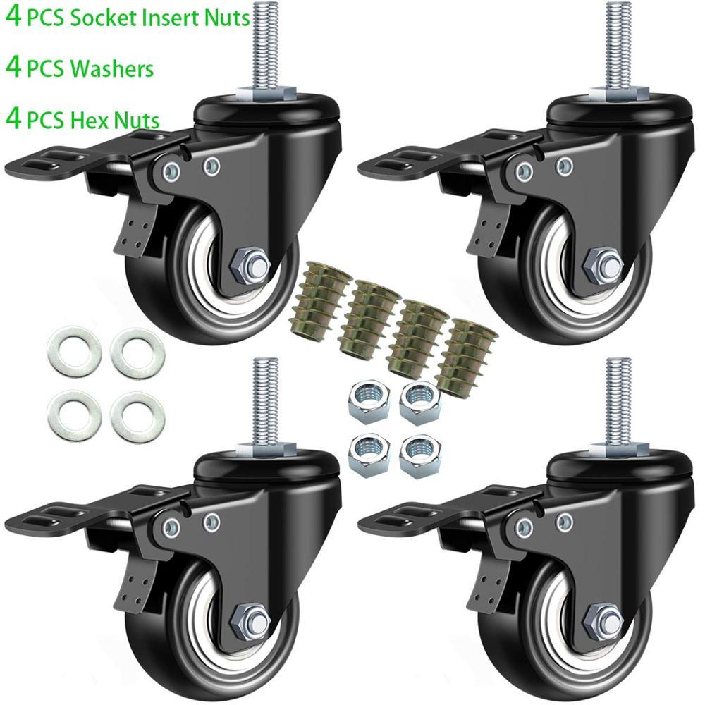 2 ruedas de tallo, ruedas de vástago giratorias de alta resistencia espuma de PU sin ruido ruedas de doble rodamientos con freno negro
