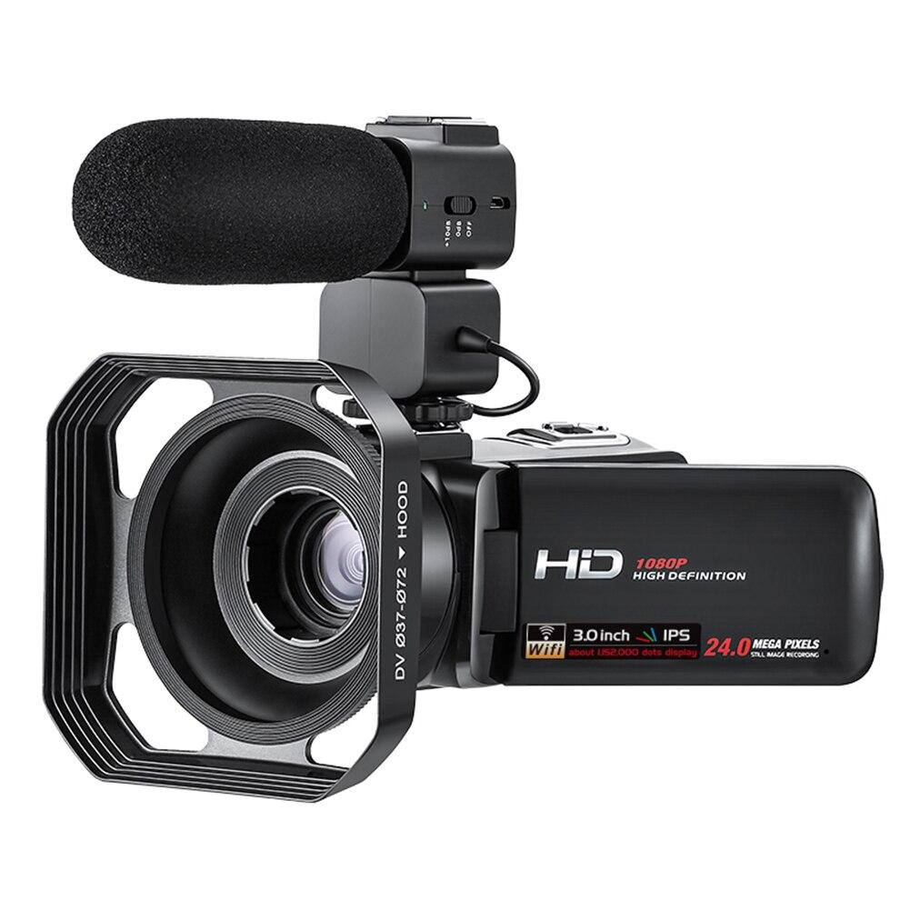 Videocámara Digital recargable por USB, visión nocturna de 1080P 30fps, de movimiento lento, gran ángulo de Pantalla táctil IPS, Control con aplicación Vlogging