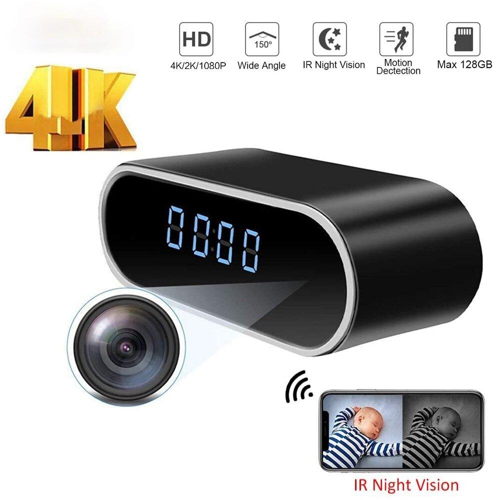 4K Wifi Camera  Clock Micro Camera Recorder Security Night Vision Motion Detect Camcorder 4k HFD Micro Kamera Espia