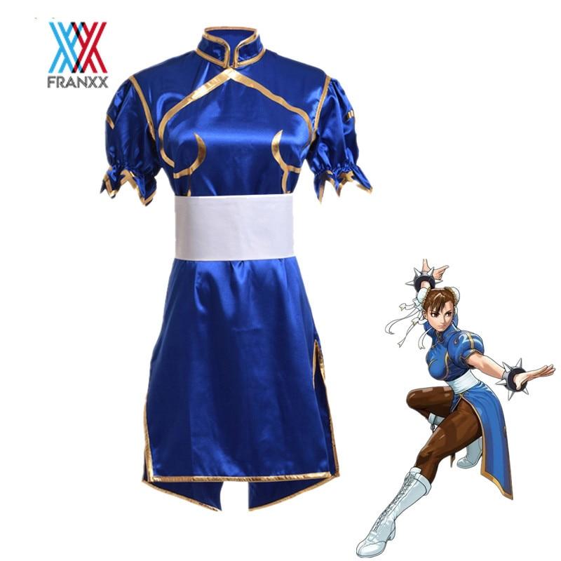 Juegos Chun Li Cosplay disfraces adultos Sexy azul Cheongsam vestido cinturón Headgear niños uniforme mujeres niñas fiesta Halloween ropa