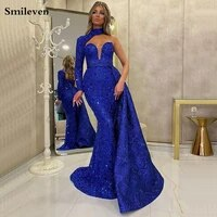 smileven mermaid evening dress one shoulder robe de soiree shiny sequin prom gowns evening party gowns with detachable train