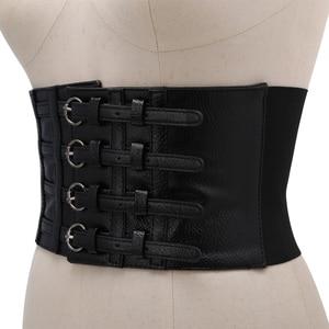 Retro Lady Waist Shape Corset Wide Elastic Faux Leather Belt Stretch Waistband