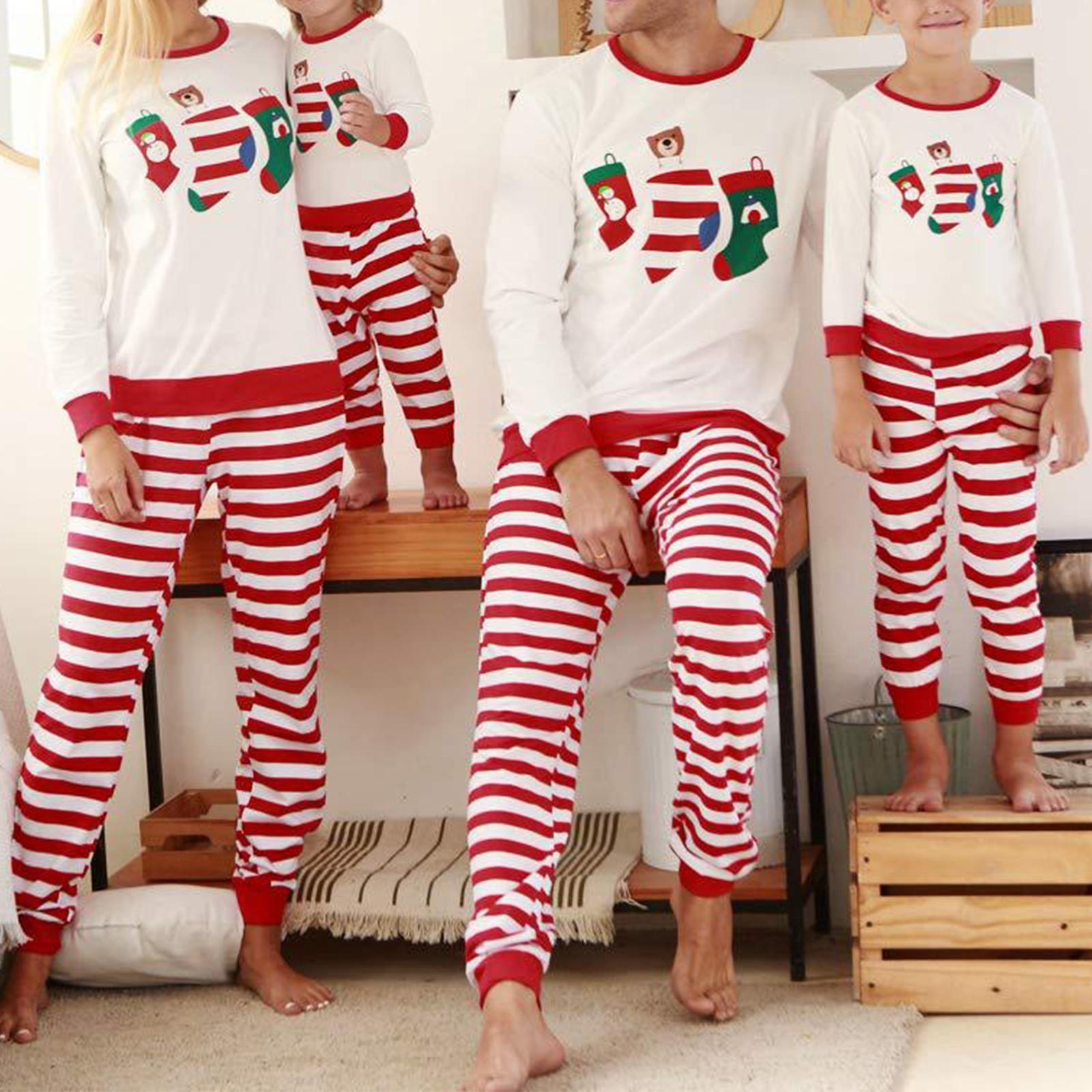 Natal família combinando roupas do bebê crianças criança impresso topo + calças natal família combinando pijamas de navidad familiar