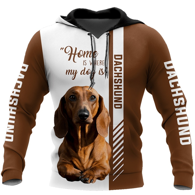 2020  Newest Fashion Hot sale animal dog dachshund 3d zipper hooded long-sleeved sweatshirts unisex casual jacket pullover tops men unisex pitbull limited edition 3d dog print zipper hoodie long sleeve sweatshirts jacket pullover tracksuit