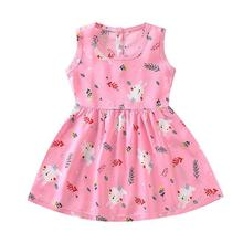 Summer Kids Dresses For Girls Sleeveless Backless Dresses Toddler Girl Cartoon Rabbit Princess Dress