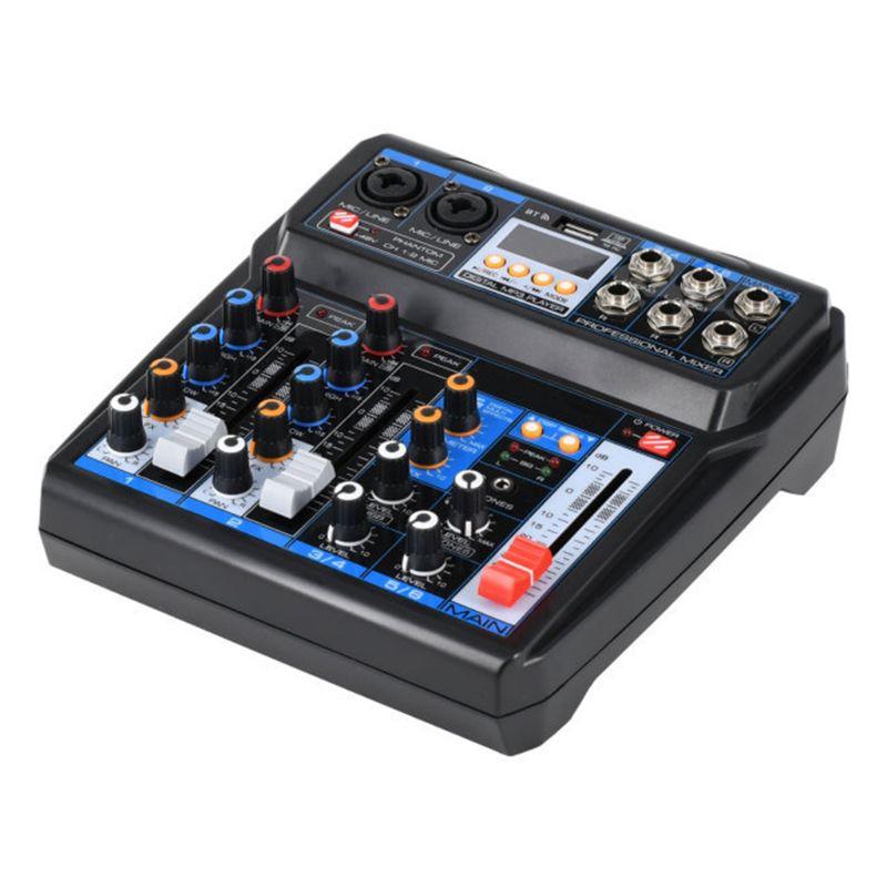 جهاز مزج صوت احترافي مكون من 6 قنوات مع واجهة USB وبلوتوث ووحدة تحكم في خلط الصوت DSP ومؤثرات صوتية لتسجيل USB