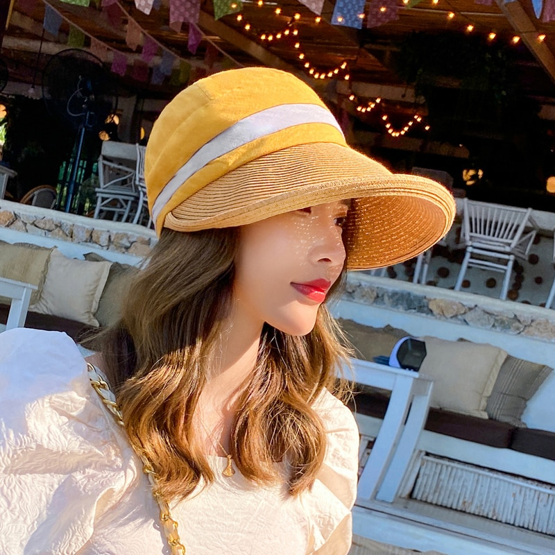 New Fashion Women Summer Beach Fashion Hats Sun Visors Cap Casual Collapsible Anti-UV Hat Chapeau Femme Dropshipping