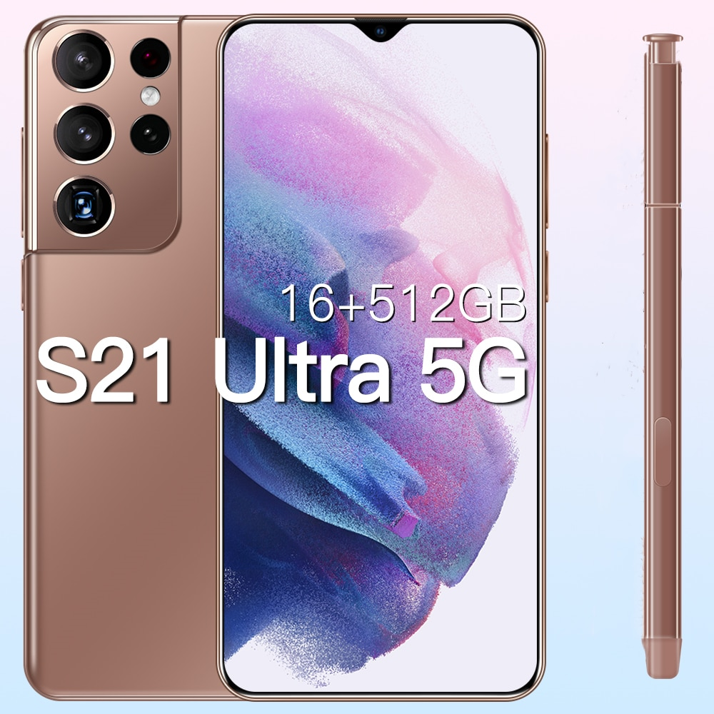 Global Version Galxy S21Ultra 5G 16GB 512GB 6.7Inch Android10 Smartphone 6800mAh Full Screen Deca Core LTE Network Mobile Phone