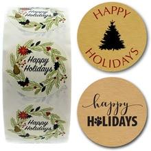 Ivoor Bloemen Happy Holiday Sticker Kerst Stickers Gift Card Festival Decoratie Seal Labels Met Xmas Tree Hond Kat Poot
