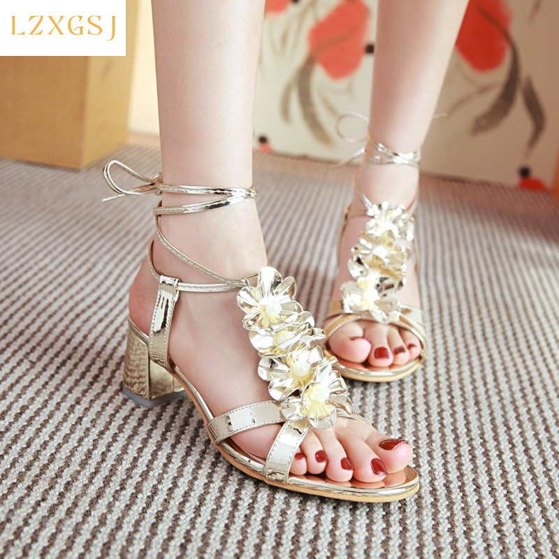 2021 New Sweet Ankle Strap Women Sandals Lace-up Metallic PU Thick Heels Sandals Female Fashion Casual Women's Spring Shoes