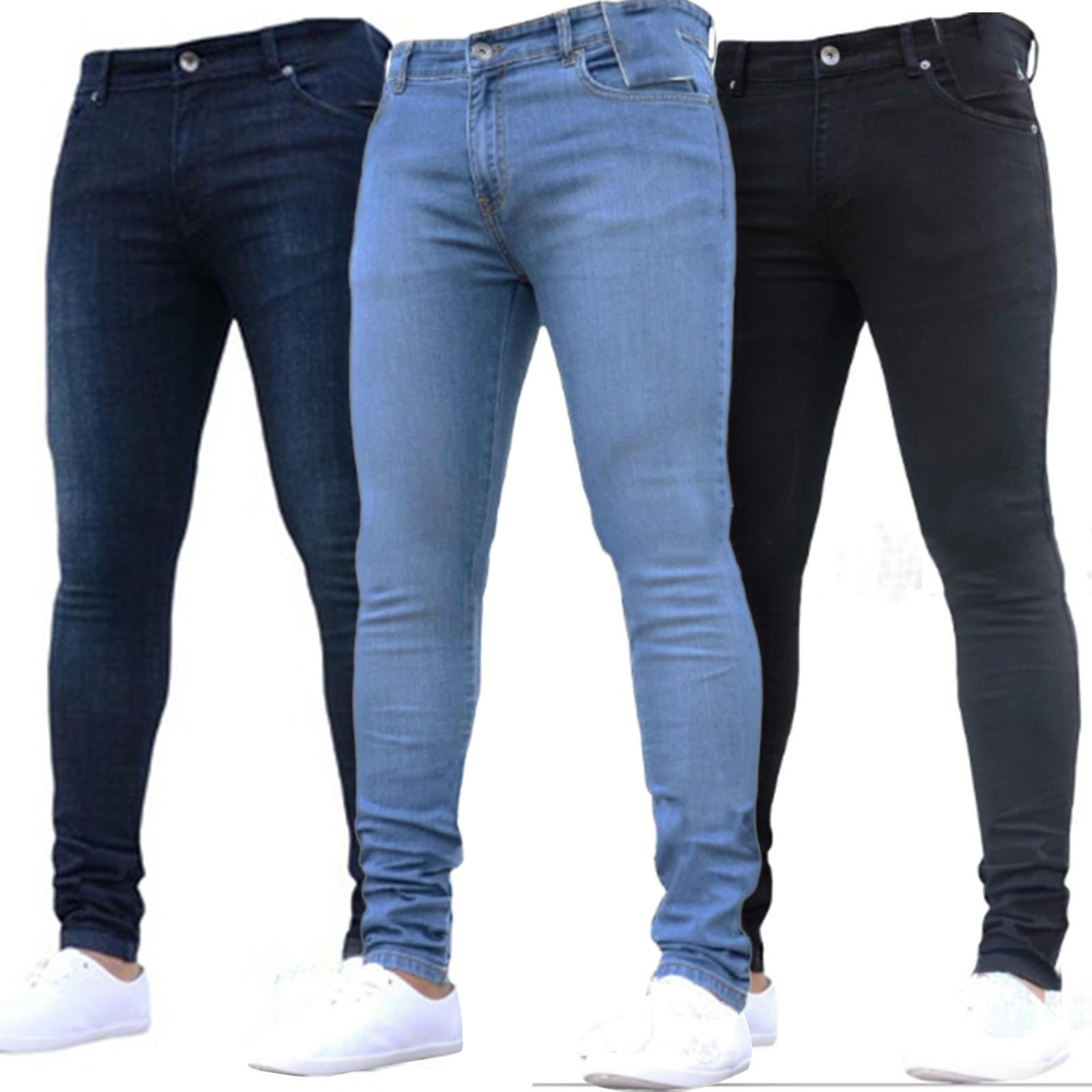 Мужские эластичные джинсы с завышенной талией и молнией, повседневные брюки, большие, трубы