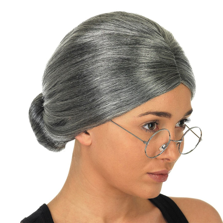 Old Woman Woman Silver Hair Christmas Headwear Dress Up Show Wig Cosplay Party Costume Great Santa C