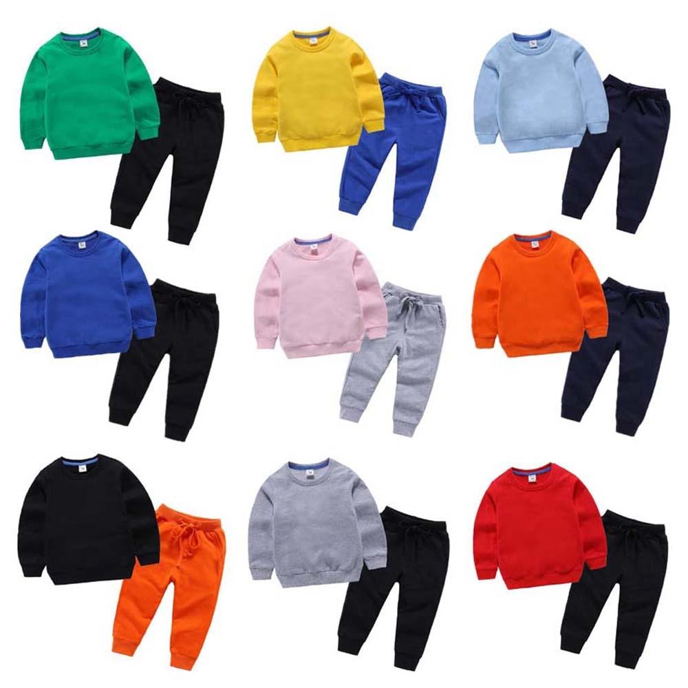Nova primavera roupas de moda das crianças do miúdo meninos meninas algodão doce cor manga longa macio do bebê topos calças define criança outfits