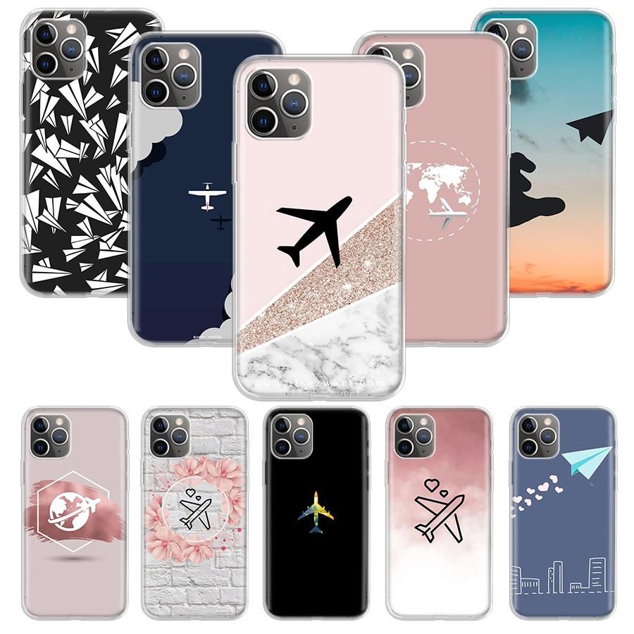 Funda de avión de papel Travel the world para Apple iphone 11 Pro XS Max XR X 7 8 6 6S Plus 5 5S SE 10 diez regalos de silicona