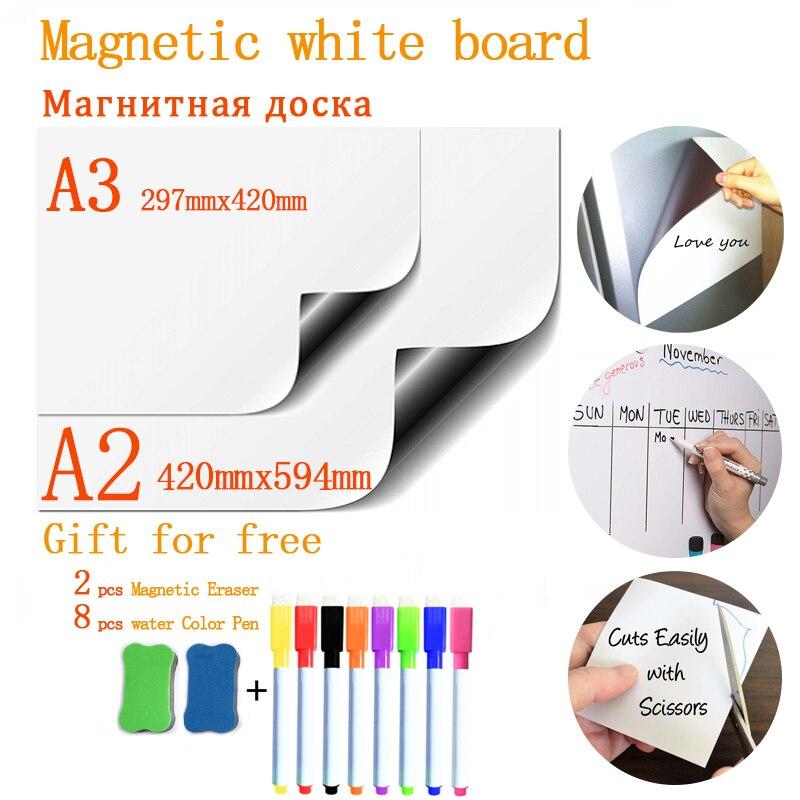 Мягкие наклейки на холодильник размер A2 + A3 магнитная доска для детей сухой ластик школьная Памятка Презентация письмо доска для рисования