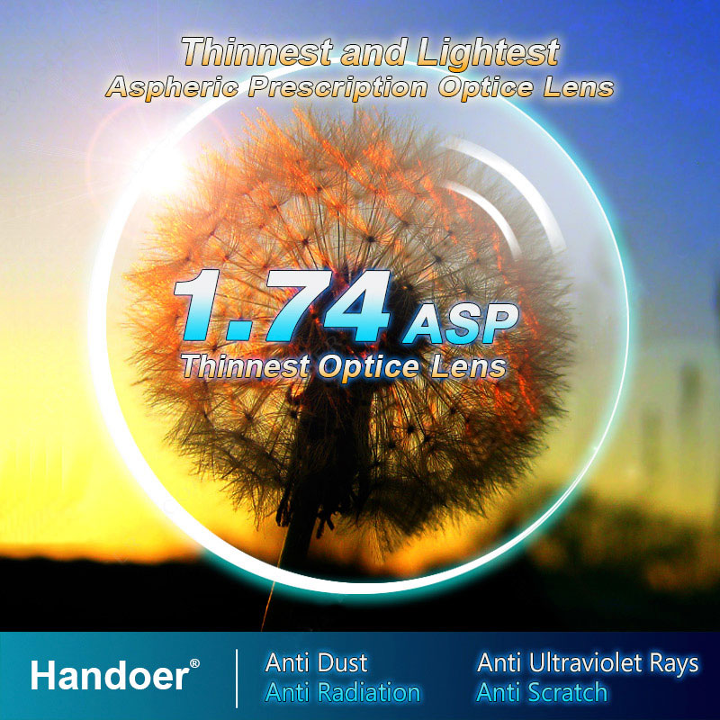 رقيقة جدا مؤشر 1.74 المضادة للإشعاع حماية البصرية عدسة رؤية واحدة شبه الكروية المضادة للأشعة فوق البنفسجية وصفة طبية العدسات