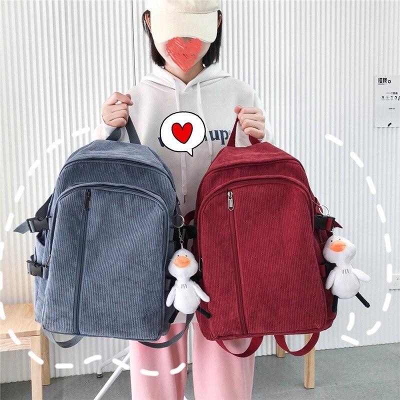 Corduroy Backpack 2021 Fresh Solid School Bag for Teenage Girls Large Capacity Rural style Leisure Or Travel Bag for Women