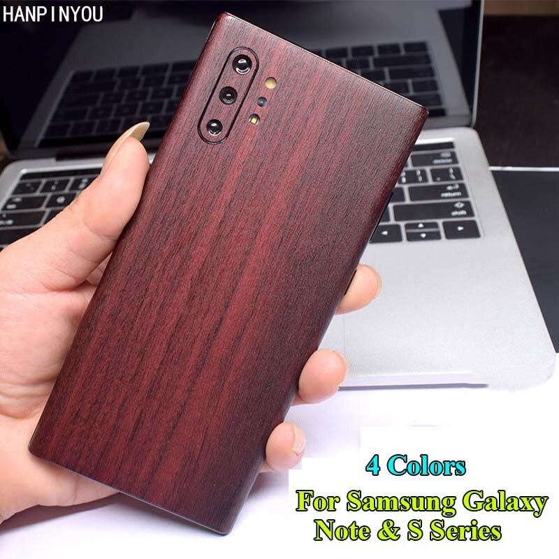 Para Samsung Galaxy Note 10 9 8 S20 S10 S10e S9 S8 Plus Ultra cubierta posterior 3D imitación madera grano proteger la piel pegatina película adhesiva
