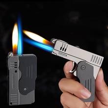 Métal Double feu déformation pistolet Butane gaz briquet sans feu Jet torche coupe-vent Cigarette silex meule briquet