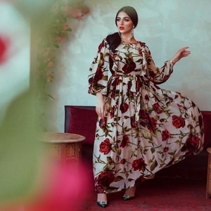 Maxi Dress Women Muslim Fashion Print Abayas Long Sleeve Sashes  A-Line Bif Swing V-neck Woman Dress Lugentolo