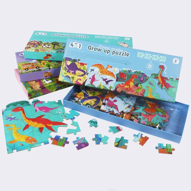 Juguetes para niños, rompecabezas para niños, rompecabezas de Educación Temprana de Cuatro en Uno, juguetes de cooperación para padres e hijos, regalo para niños