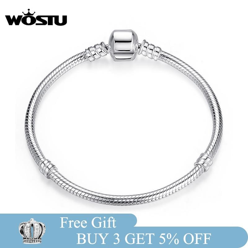 WOSTU 925 Sterling Silver Bracelet – Barrel Snap Clasp, Cubic Zirconia, Bangle Bracelet, Chain Bracelet, Charm, Sizes 17–21