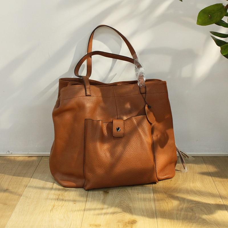 حقيبة يد نسائية سعة كبيرة حقيبة جلدية أصلية حقيبة كتف عادية ثلاث طبقات تصميم جيب كبير بلون حقائب كتف للنساء