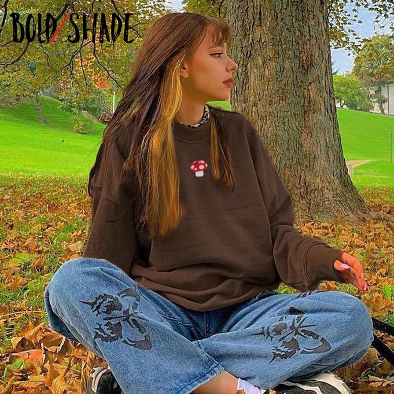 Bold Shade Indie Aesthetic 90s Sweatshirts Y2K Fashion Streetwear Long Sleeve Hoodies Graphic Embroidery Crewneck Tan Sweatshirt
