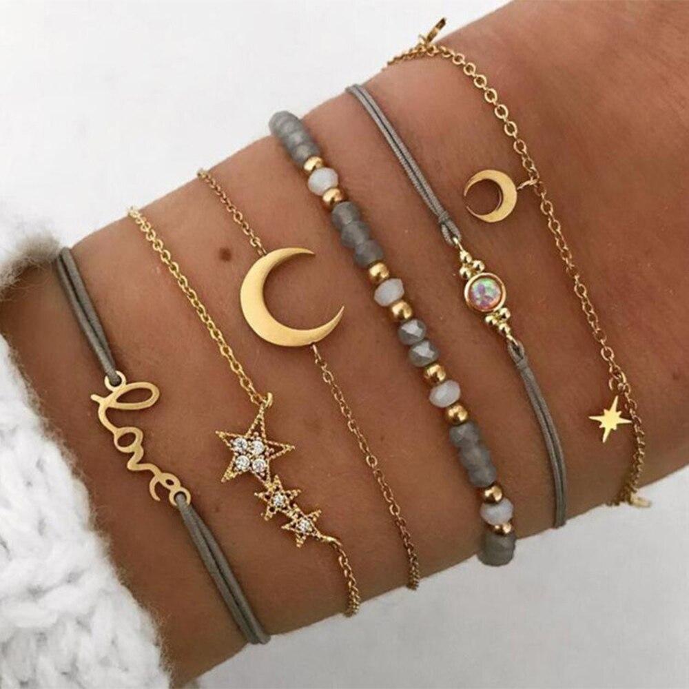 2021 nuevo amor cinco estrella brazaletes de Luna para mujeres Boho seis...