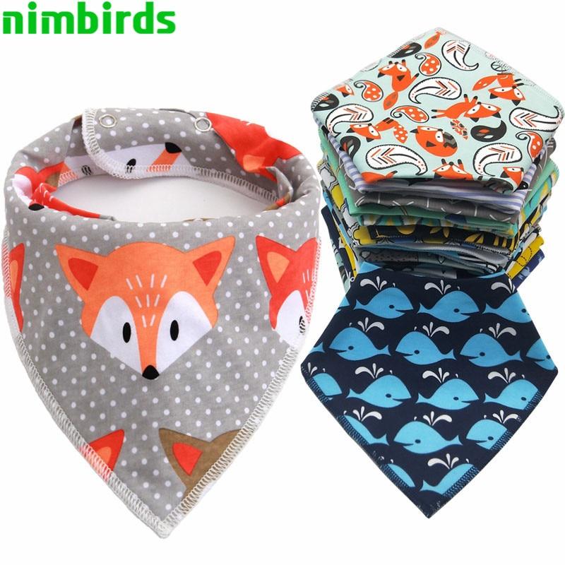 Baberos triangulares para bebé, pechera de algodón con dibujos animados para niño,...