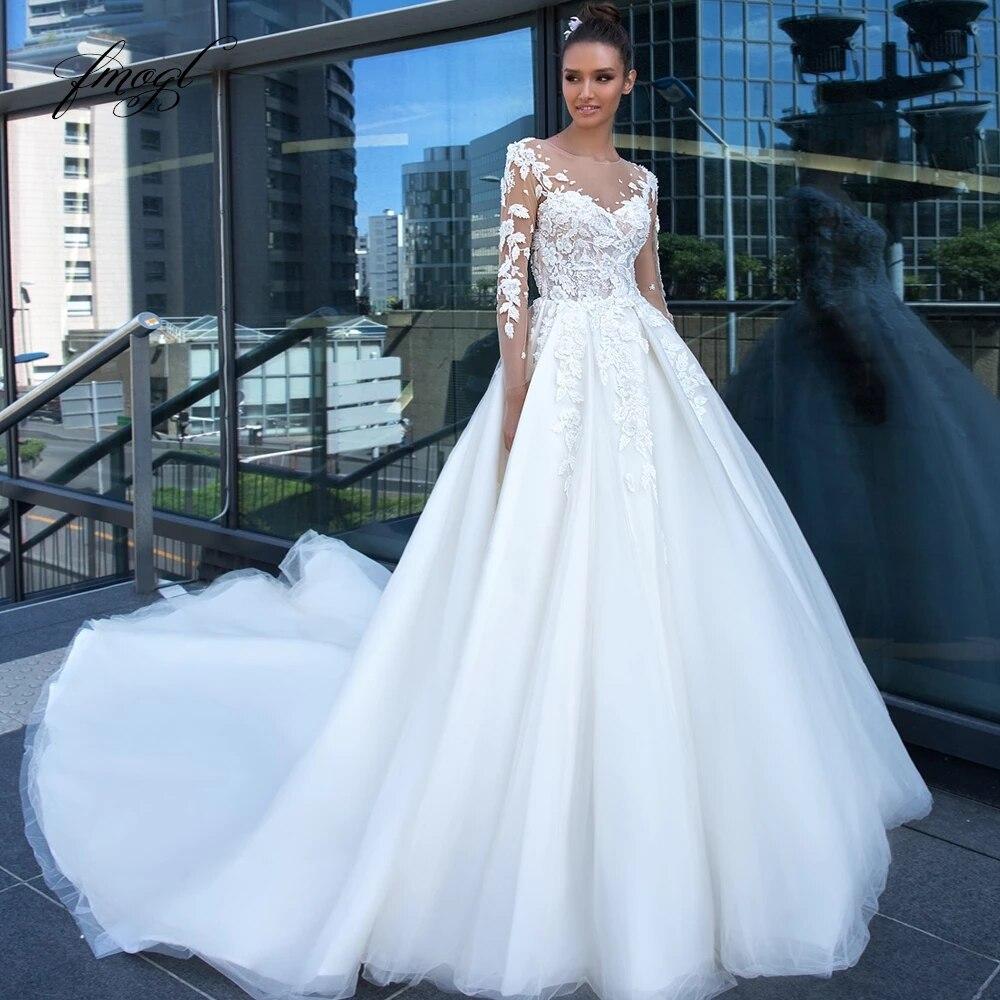 Get Elegant Wedding Dresses Boat Neck Long Sleeve Lace Appliques Tulle A Line Court Train Bridal Gowns Robe De Mariée Custom Made