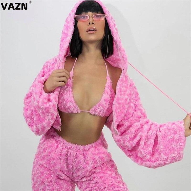 VAZN Winter Rosa Energie Junge Sexy Täglichen Mode Volle Hülse Top 1 Stück Bikini 1 Stück Lange Hosen Warm Schlank frauen 3 Stück Set