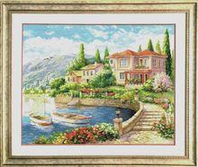 Kit de point de croix degypte   Collection coton or adorable, Kit de point de croix sur la côte, maison maison bateau-bateau de ville 100%