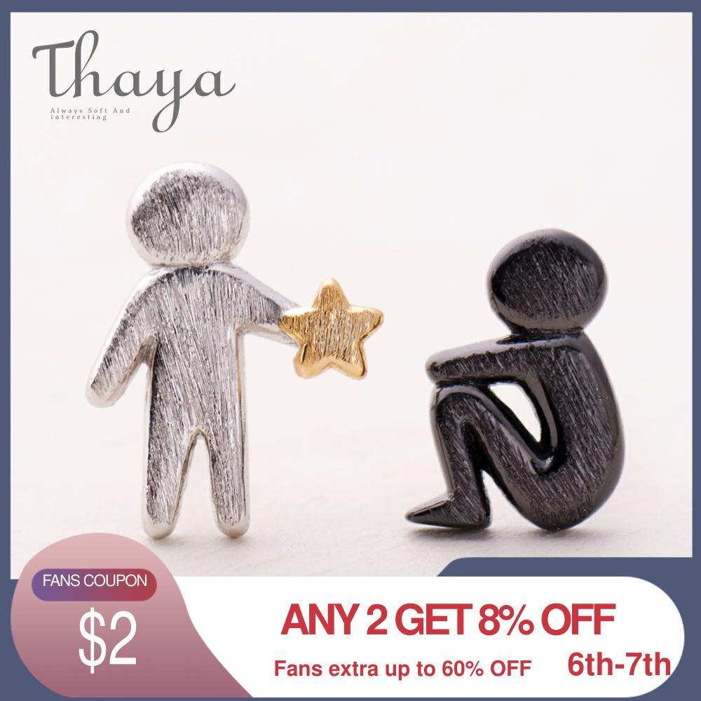 Thaya escolher estrelas de ouro para você design brincos de parafuso prisioneiro s925 prata assimetria figura brinco para mulher textura elegante jóias