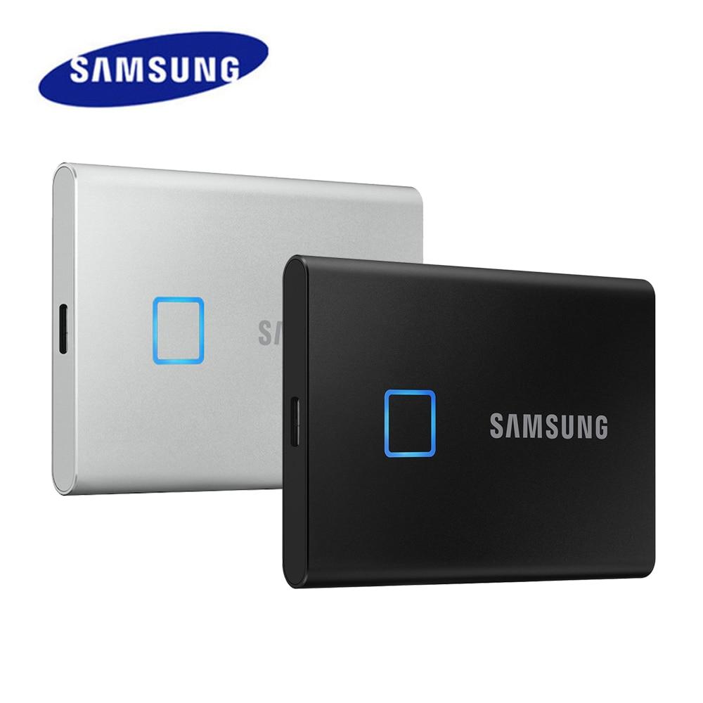 سامسونج T7 اللمس SSD 500GB 1 تيرا بايت 2 تيرا بايت USB3.2 بصمة الاعتراف إفتح نوع-C المحمولة واجهة محرك الحالة الصلبة NVMe