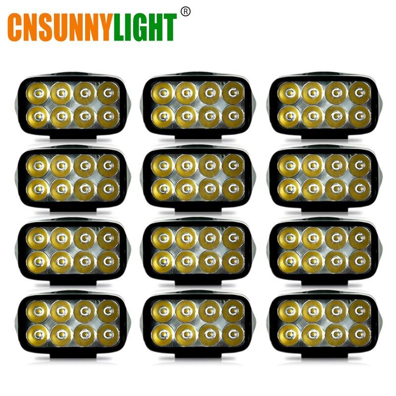CNSUNNYLIGHT 12 Uds 4 pulgadas LED luz de trabajo 10W led Bar para Tractor OffRoad 4WD 4x4 coche camión SUV ATV lámpara de conducción Foglight