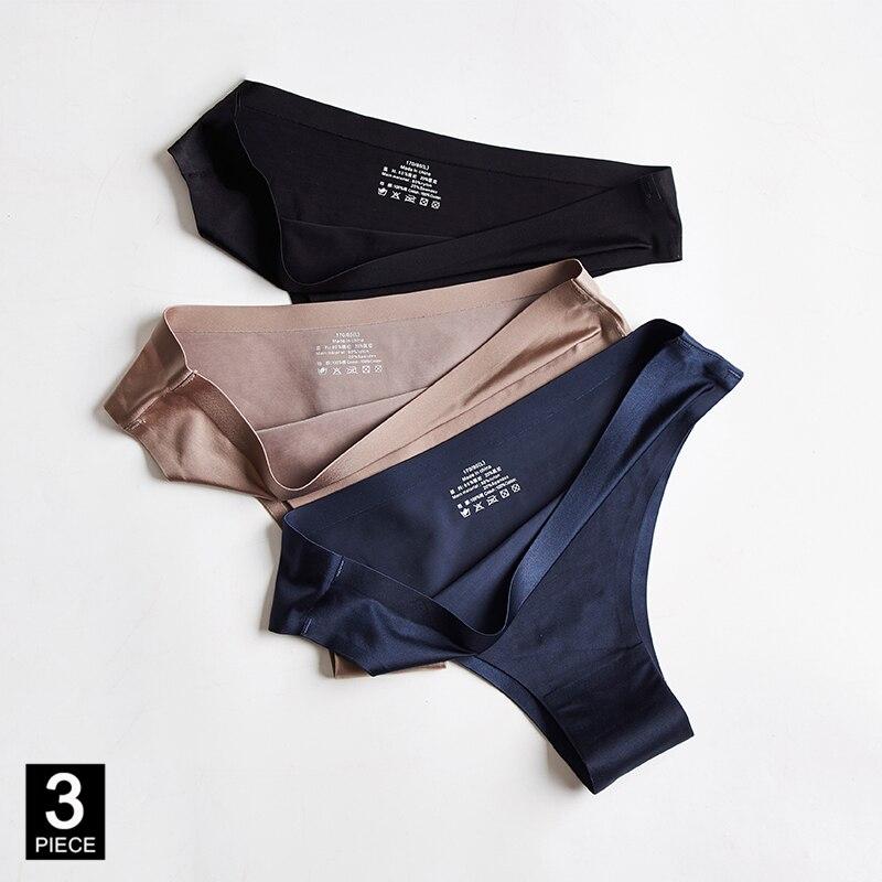 Sexy Thong Panties Woman Underwear Lady Seamless Sports T-back Soft Ice Silk G-string Girl Underpants Set Dropshipping 3 Pcs/lot