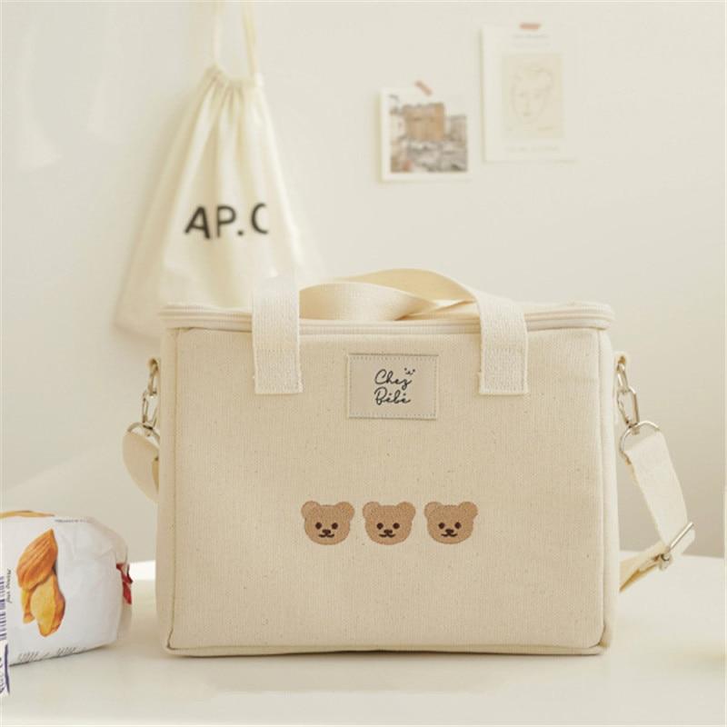 Корейская сумка для мамы с вышивкой медведя, многофункциональные сумки для мамы и ребенка, модная сумка через плечо для мамы