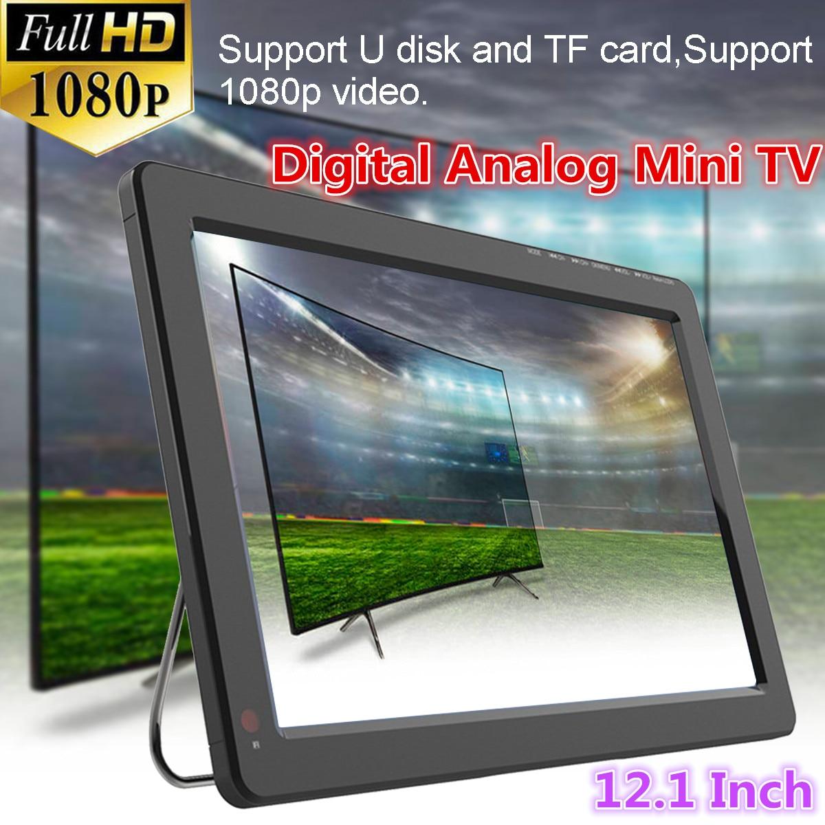 Mini TV analógica y Digital portátil para coche, de 12V y 18W, de 12,1 pulgadas, DVB-T / DVB-T2 TFT LED 1080P HD, admite tarjeta TF, Audio USB y enchufe europeo