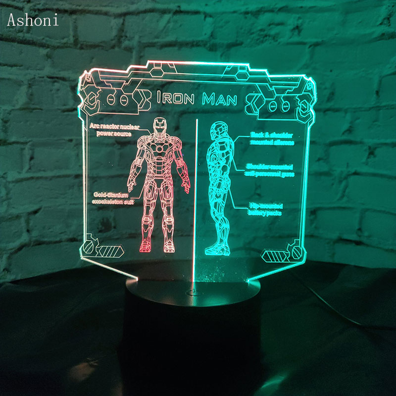 Marvel superhéroe figura libro 3D color lámpara de mesa RGB variado Multicolor USB táctil remoto LED luz de noche lámpara de escritorio regalo novedad