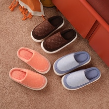 Autumn And Winter Indoor Men's Plush Slippers Luxury Bedroom Couples Warm Plush Shoes Household Simp