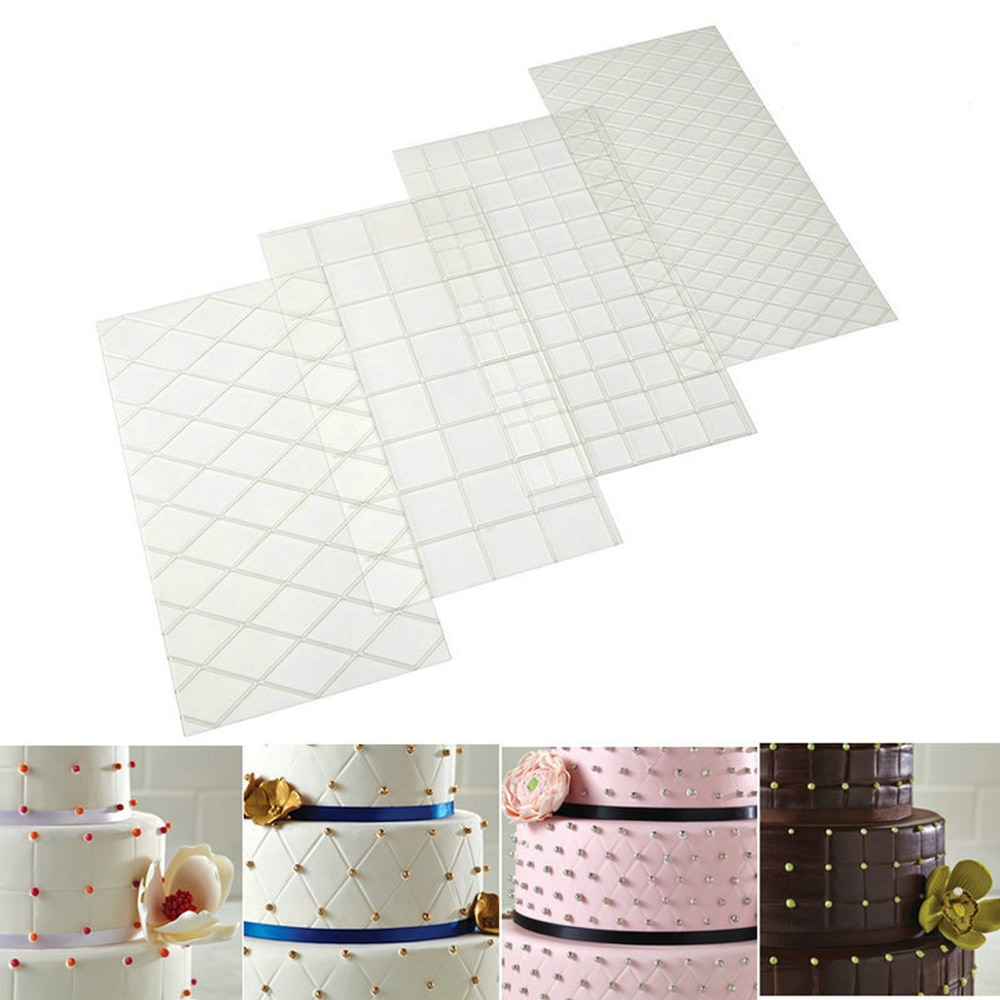 4 pçs grade textura transparente tapete fondant bolo xadrez em relevo cozimento textura pérola aplicador decoração molde bolo ferramentas