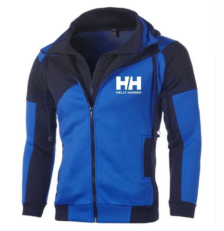 Helly Hansen-Sudadera con capucha a la moda para hombre Jersey empalmado HH imprimir sudaderas con capucha para hombres Casual abrigo de bolsillo de doble capa con capucha y cremallera