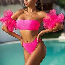 Bandeau Bikinis 2020 maillot de bain femme taille haute Bikini ensemble maillot de bain femme maillot de bain maillots de bain Bikini à volants