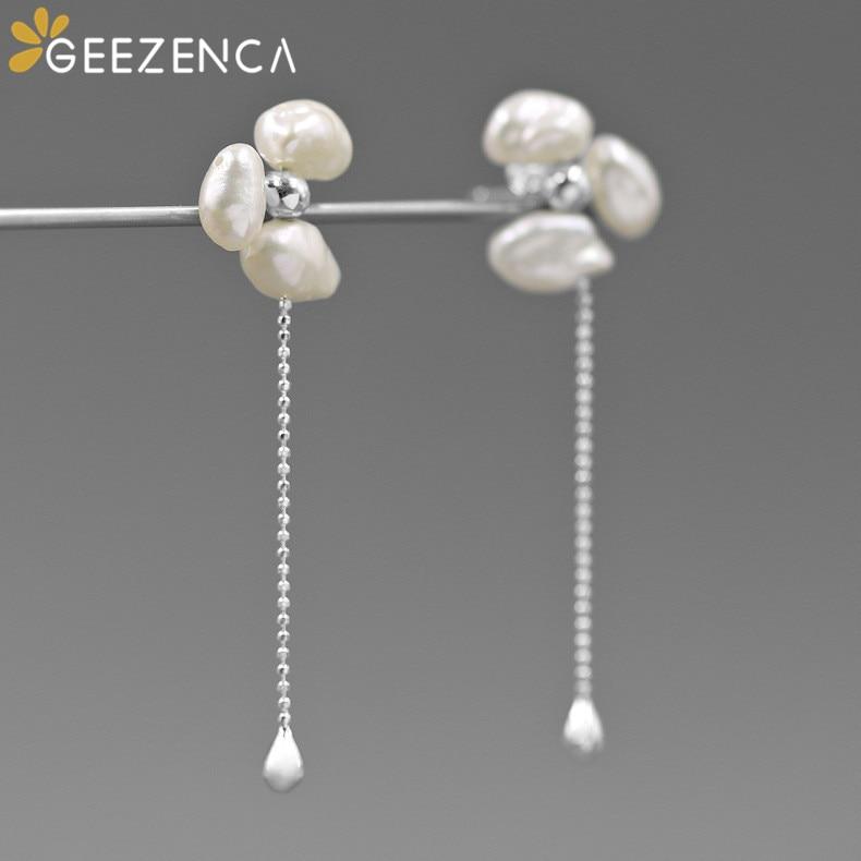 Diseño Original barroco Natural perlas de flor de Plata de Ley 925 mujeres pendientes de joyería fina francés estilo romántico pendientes
