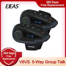 VNETPHONE V8 VS Intercom Waterproof 5-Way Group Talk Bluetooth Motorcycle Helmet Headset FM Radio NFC 1.2KM for 5 Riders